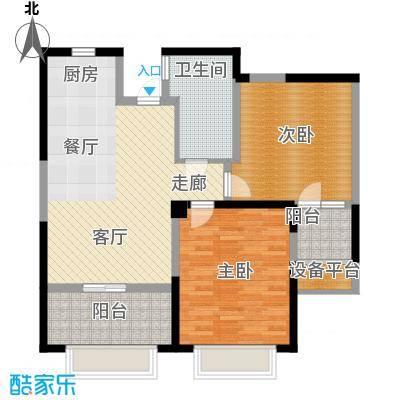 香榭一品88.00㎡2室户型2室2厅1卫1厨