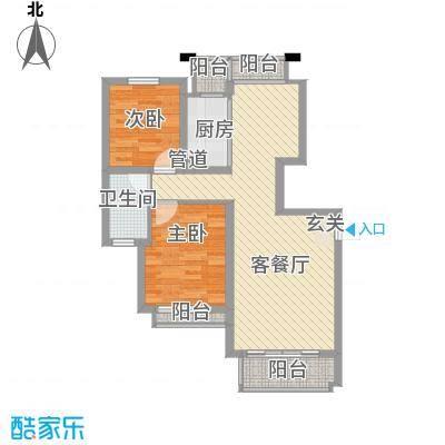 谢丽花园91.00㎡2室户型2室1厅1卫1厨