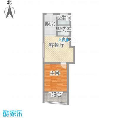 锦盛花园61.42㎡E户型1室1厅1卫1厨