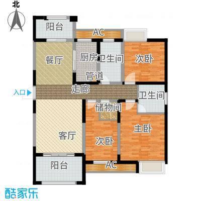 百乐广场136.83㎡G2户型3室2厅2卫面积136.83平方米户型3室2厅2卫1厨