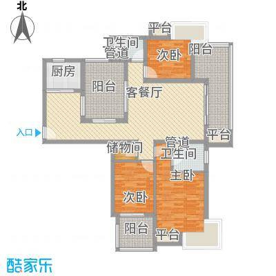 国信世家140.00㎡国信世家户型图高层E23室2厅2卫1厨户型3室2厅2卫1厨