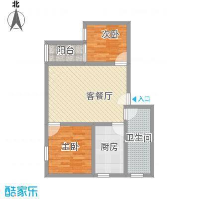 富景花园三期76.00㎡2室2厅户型2室2厅1卫1厨