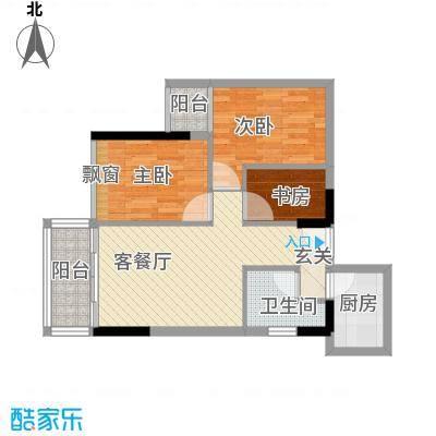 云翠豪苑77.00㎡E户型3室2厅1卫1厨