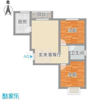 印染新村80.00㎡2室户型2室2厅1卫1厨