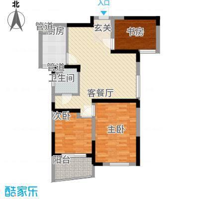 利港尚公馆户型图1#楼6―19层(03、06单元) 3室2厅1卫1厨