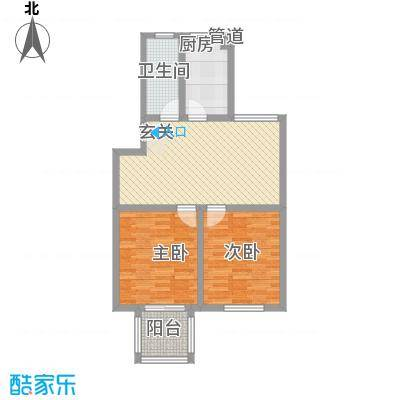 东城风景户型图L户型 2室2厅1卫1厨