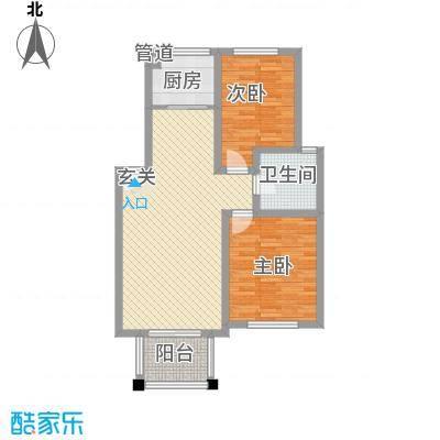 东城风景户型图J户型 2室2厅1卫1厨