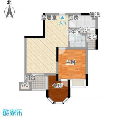 奥林匹克花园76.00㎡4期5#号楼标准层2户型(书房)户型2室1厅1卫