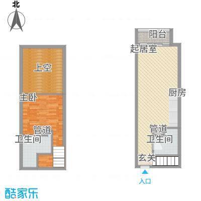 敏捷・上城国际46.00㎡E户型1室2厅2卫1厨
