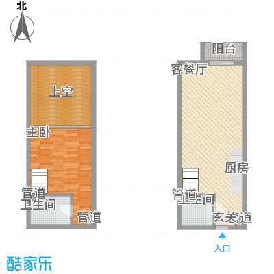 敏捷・上城国际51.00㎡C户型1室2厅2卫1厨