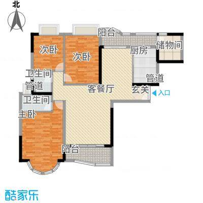 珠江御景湾・长岛御岸3室2厅户型3室2厅2卫1厨