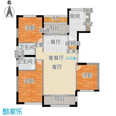 太湖锦园145.00㎡太湖锦园户型图宽景公寓B5户型3室2厅2卫户型3室2厅2卫