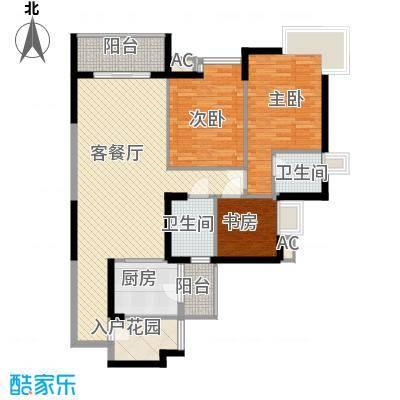 湖滨壹号127.00㎡湖滨壹号户型图B3室2厅2卫户型3室2厅2卫