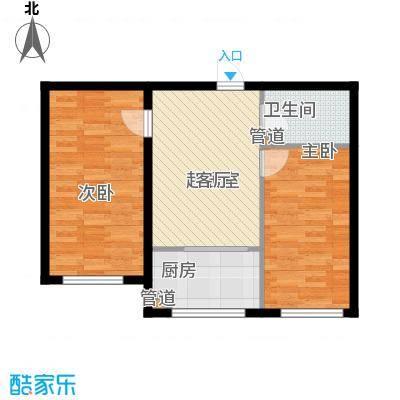 金河铭苑户型图G123-2户型  2室1厅1卫1厨