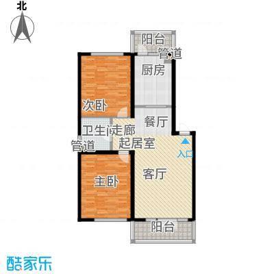 金河铭苑户型图D2-3-5层户型 2室2厅1卫1厨