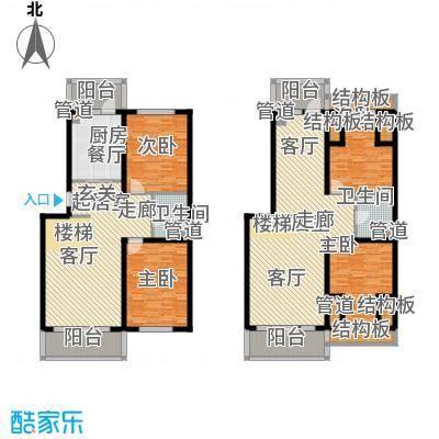 金河铭苑户型图D2-6层带阁楼层平面图  4室2厅2卫2厨