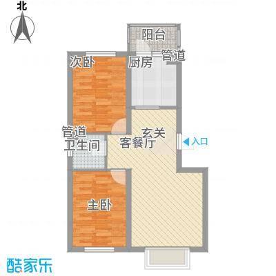 哈东上城74.70㎡哈东上城户型图多层D户型2室2厅1卫1厨户型2室2厅1卫1厨