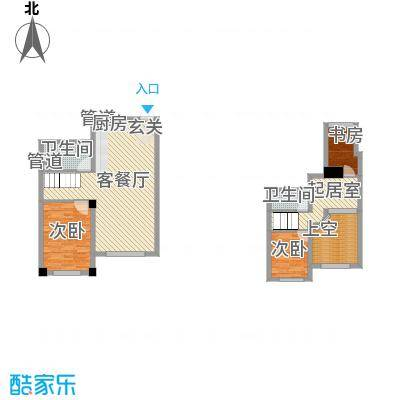 哈东上城60.00㎡哈东上城户型图复式A户型图2室2厅1卫1厨户型2室2厅1卫1厨