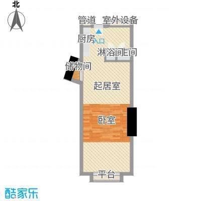 番禺万达广场64.00㎡SOHO公寓c户型1室1厅1卫1厨