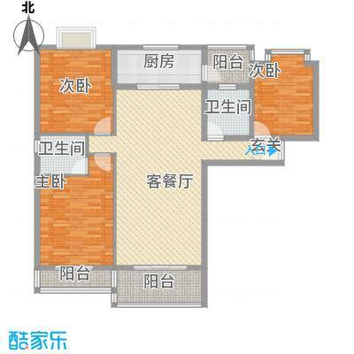 金鼎国际广场132.35㎡B1户型3室2厅2卫1厨