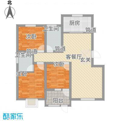 花漾山104.53㎡花漾山户型图A-D首层104.53平米3室2厅1卫户型3室2厅1卫