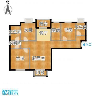 浩友凤凰城128.17㎡标准层D户型3室2卫1厨