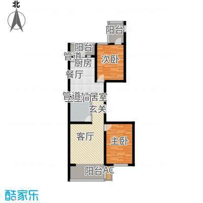 悦山国际76.68㎡悦山国际户型图F7户型2室1厅1卫1厨户型2室1厅1卫1厨