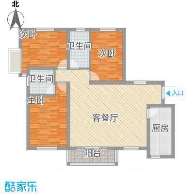 金泰花园127.55㎡金泰花园户型图D1户型3室2厅1卫1厨户型3室2厅1卫1厨