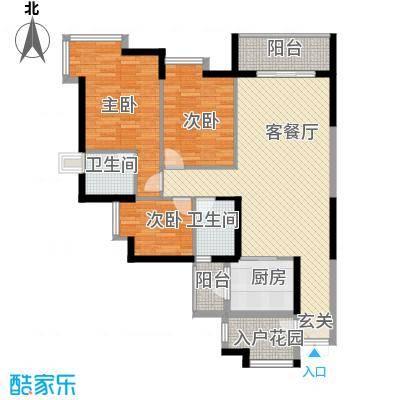 湖滨壹号127.00㎡湖滨壹号户型图C2室2厅2卫户型2室2厅2卫