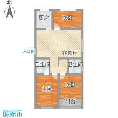 金泰花园108.00㎡金泰花园户型图E1户型3室2厅2卫1厨户型3室2厅2卫1厨