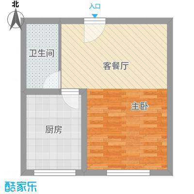 金泰花园55.00㎡金泰花园户型图E5户型1室2厅1卫1厨户型1室2厅1卫1厨