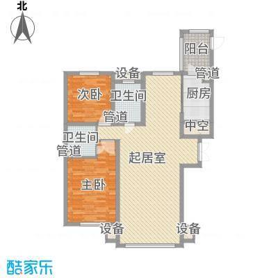 海富第五大道84.54㎡二期高层二室户型2室2厅2卫1厨