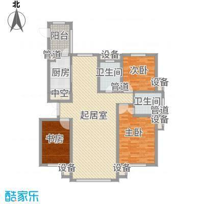 海富第五大道95.87㎡二期高层三室户型3室2厅1卫1厨