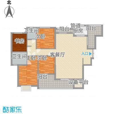 融汇江山户型图帝景阁B3户型  4室2厅2卫1厨