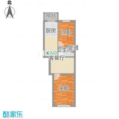 冬奥家园户型图B栋户型  2室1厅1卫1厨