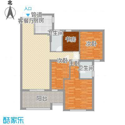 融汇江山141.67㎡融汇江山户型图D24室2厅2卫户型4室2厅2卫