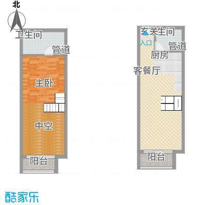 敏捷・上城国际46.00㎡D户型1室2厅2卫1厨