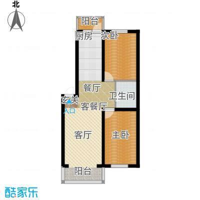 天薇丽景园71.05㎡两室户型2室1厅1卫1厨