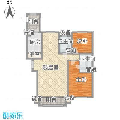 海富第五大道85.85㎡二期高层户型2室2厅2卫2厨