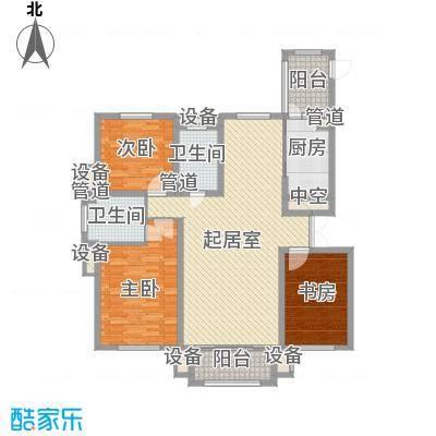 海富第五大道104.44㎡二期高层户型3室2厅2卫1厨