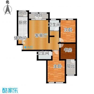群力玫瑰湾90.08㎡G05B户型3室1厅2卫1厨