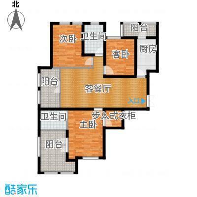 群力玫瑰湾90.41㎡G05C户型3室1厅2卫1厨
