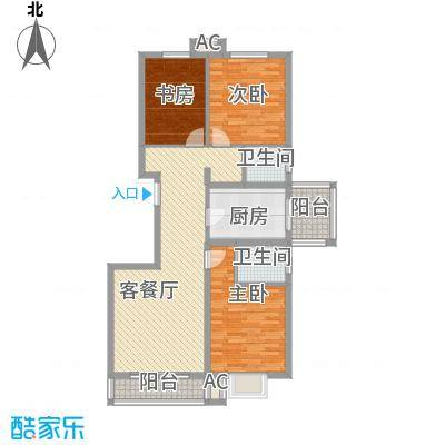 金泰花园123.40㎡金泰花园户型图B3户型图3室2厅2卫1厨户型3室2厅2卫1厨