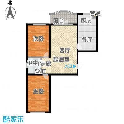金河铭苑户型图G123-3户型  2室2厅1卫1厨