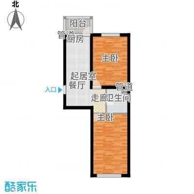 金河铭苑户型图D03-01户型  2室1厅1卫1厨