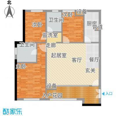 阳光城新界户型图E户型 3室2厅1厨2卫95㎡ 3室2厅2卫1厨