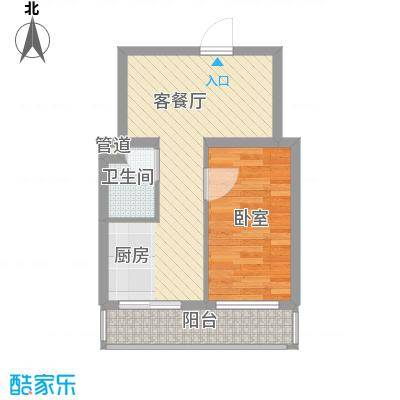 冬奥家园户型图B栋户型  1室1厅1卫1厨