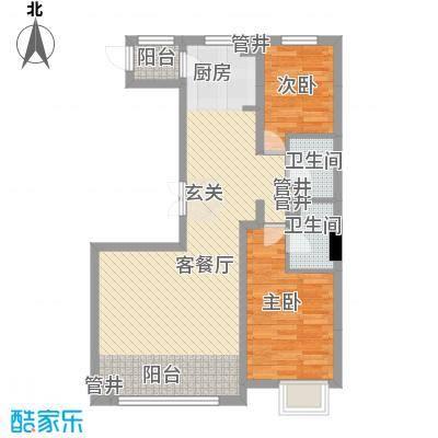 盟科视界C户型:两室一厅86.28平方米户型2室2厅1卫1厨