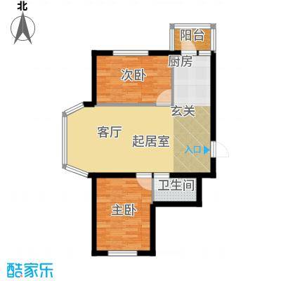 天薇丽景园两室61.17㎡户型2室1厅1卫1厨