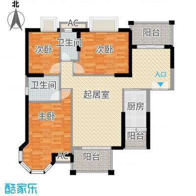 海景蓝湾128.65㎡海景蓝湾户型图3期江畔3座03单元3室2厅2卫户型3室2厅2卫